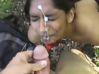 Watch blowjob Pretty Indian Gets A Facial Outdoors POV